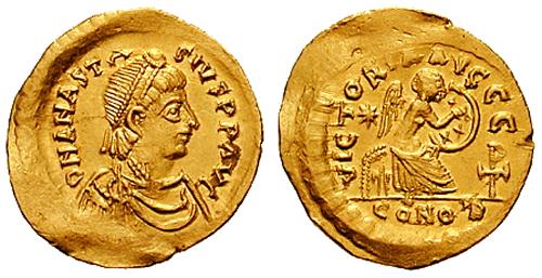 Римская монета - золотой солид с изображение императора Анастасия I