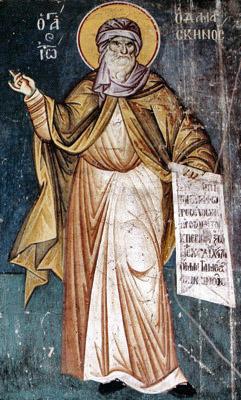 Преп. Иоанн Дамаскин. Мануил Панселин. Фреска церкви Успения Богородицы в Протате. Афон. Начало XIV в.