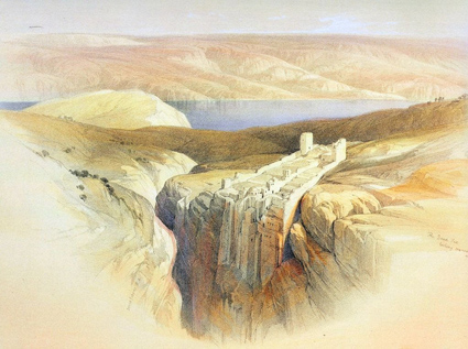 Вид на Мёртвое море от лавры св. Саввы. 1880 г. Раскрашенная гравюра из кн.- Picturesque Palestine, ок. 1880 г.