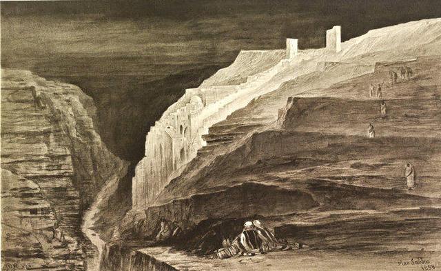 Монастырь св. Саввы. Рисунок Эдварда Лиэра. 1858 г.