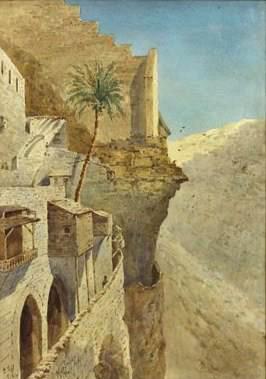 Пальма в монастыре св. Саввы. Акварель Питера Питерсона 1882 г.