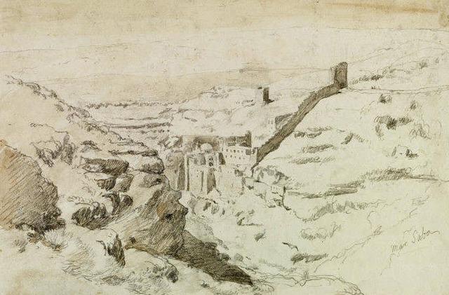 Монастырь св. Саввы. Рисунок Геркулеса Барбанзона 1860 г.